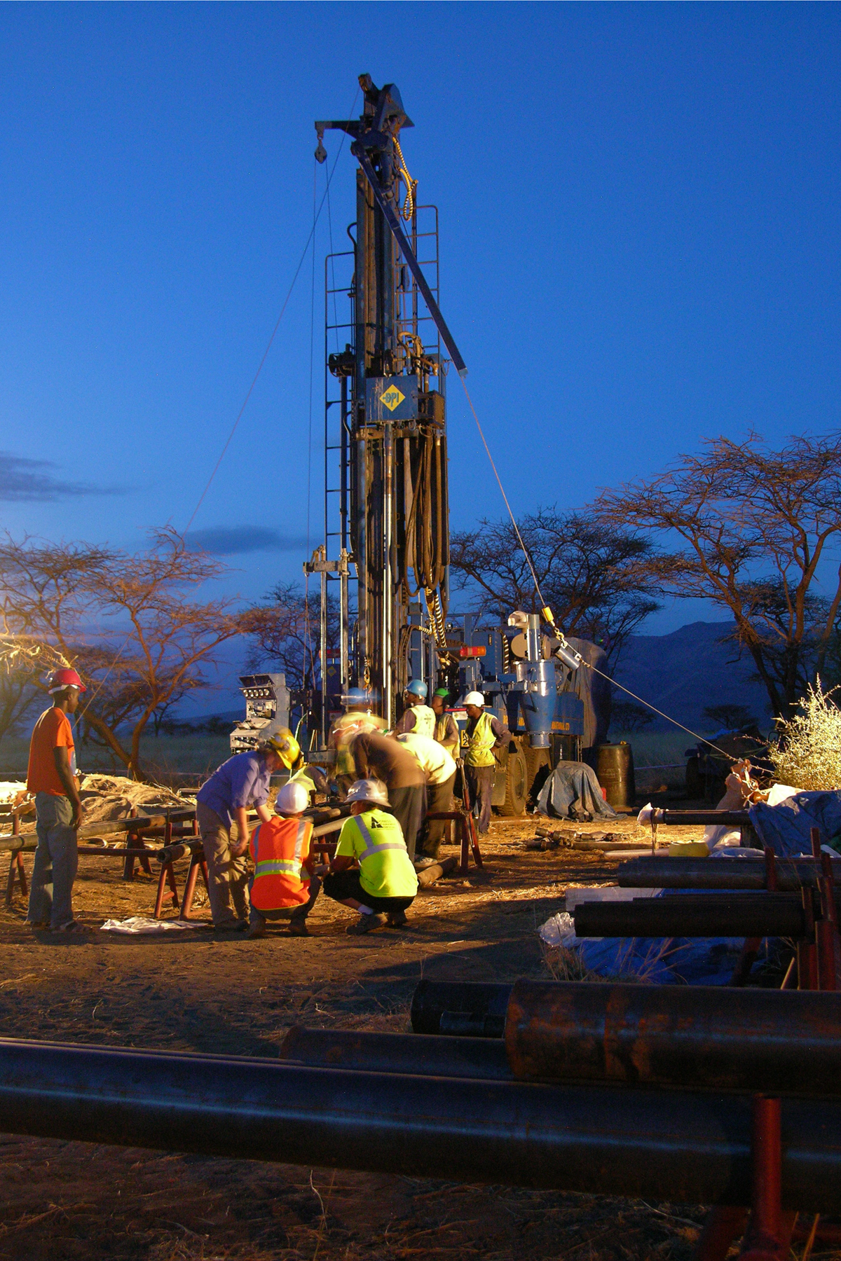 Potts's American and Kenyan team of drillers and core-recovery experts undertook day- and night-time drilling
