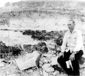 Father Verhoeven sitting near the site of one of his excavations on Flores at the Soa Basin during the 1960s. Image from Verhoeven, 1968.