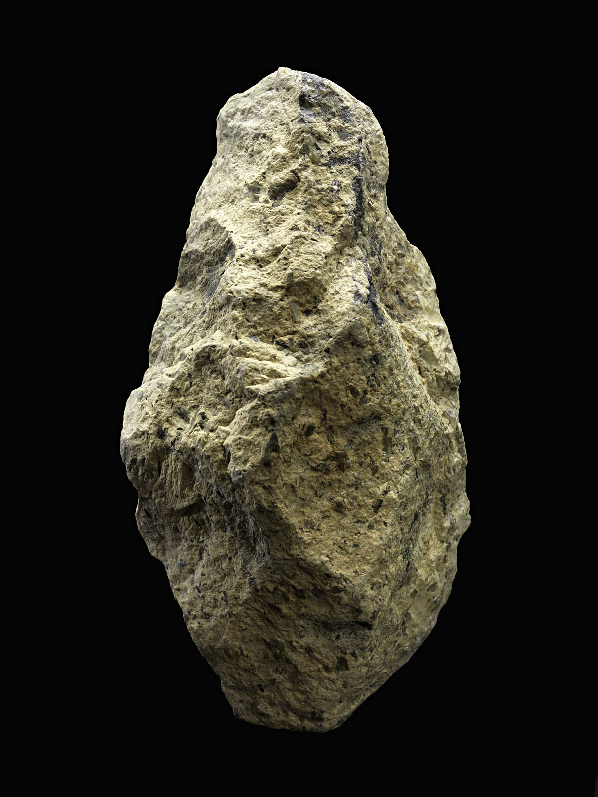 A handaxe from Olorgesailie (handaxe is ~14cm tall). Image courtesy of James Di Loreto and Donald H. Hurlbert, Smithsonian Institution.
