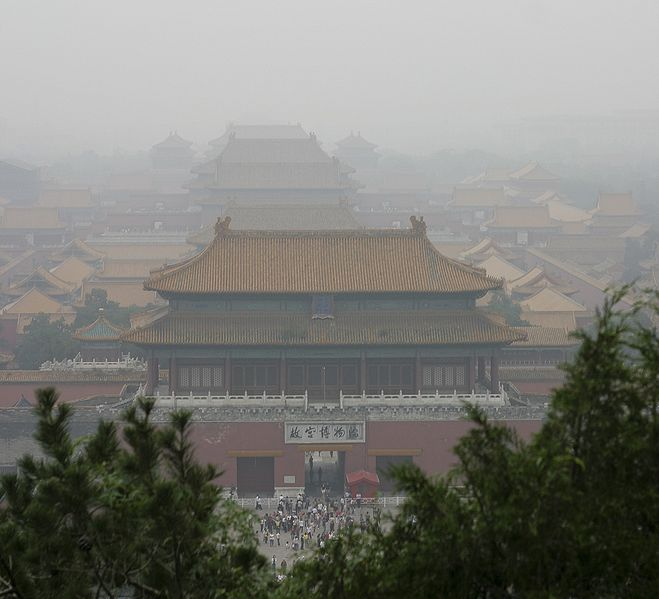 Smog in the Forbidden City in Beijing, China.