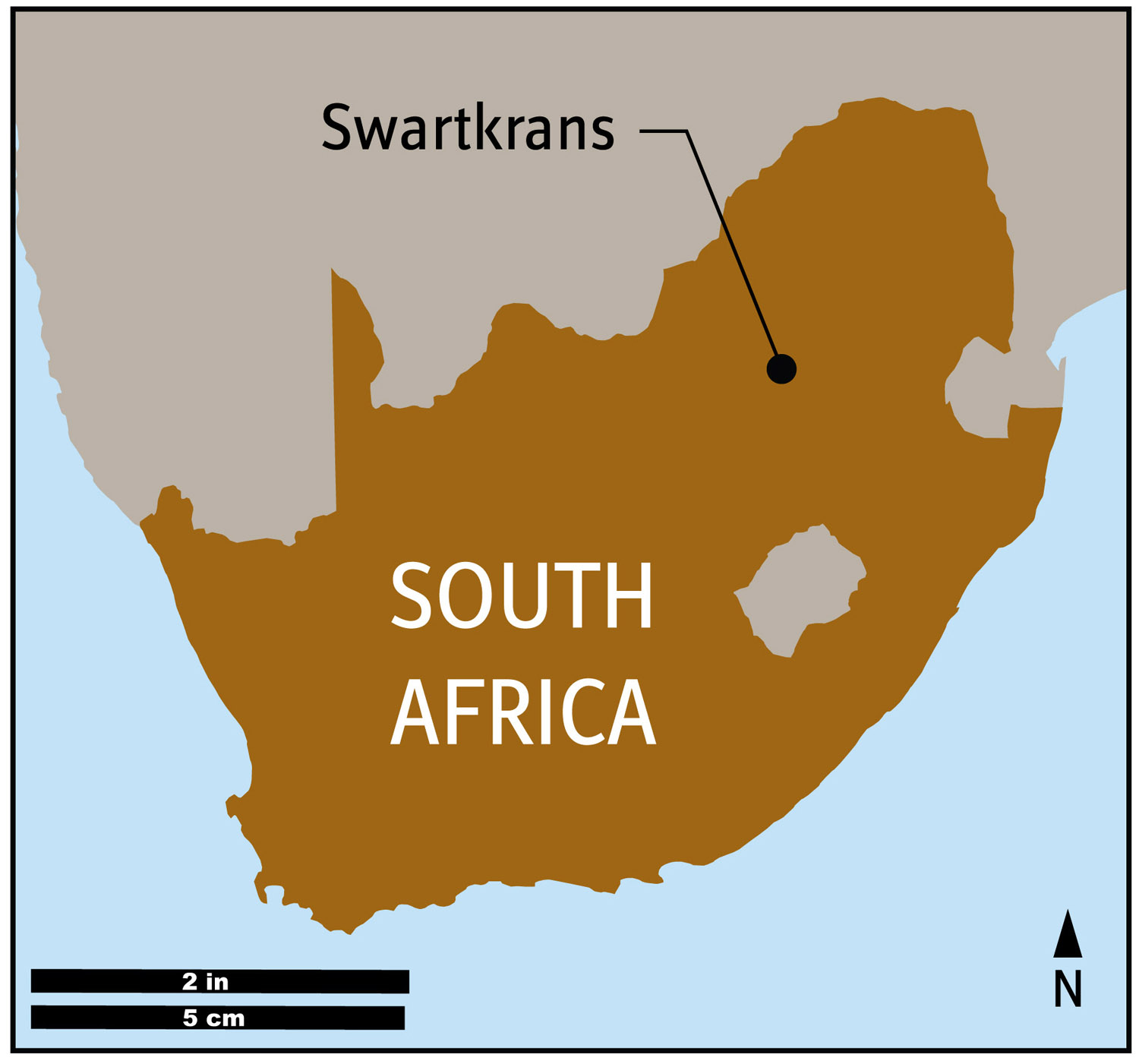 map showing Swartkrans, South Africa, where SK 54 was found