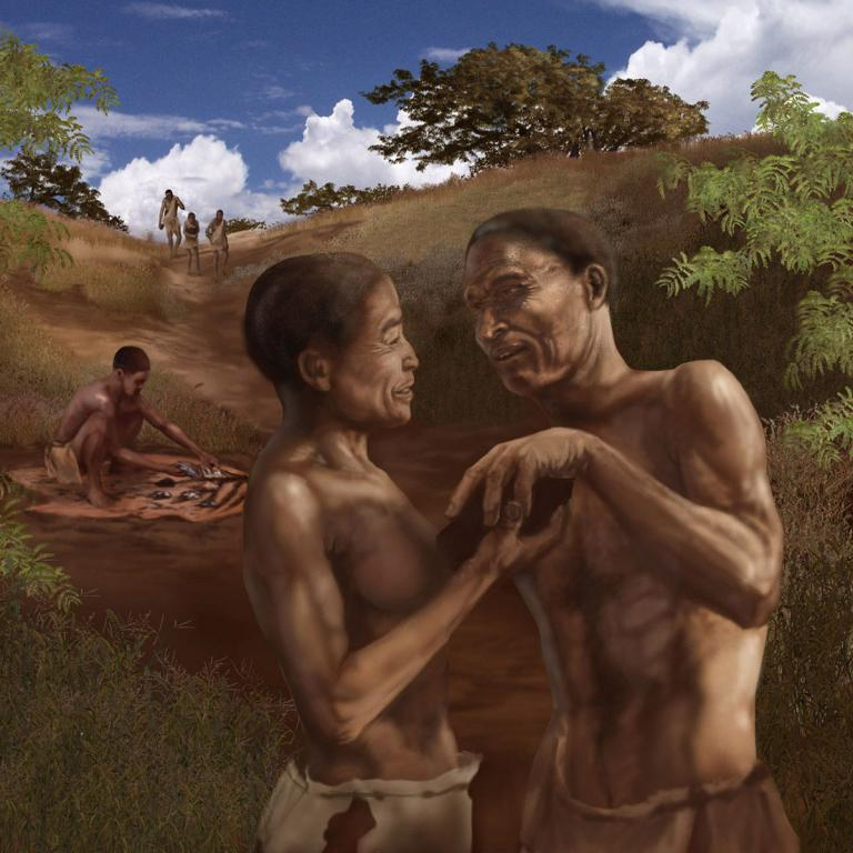 Modern humans exchange resources over long distances. Image courtesy of Karen Carr Studio.